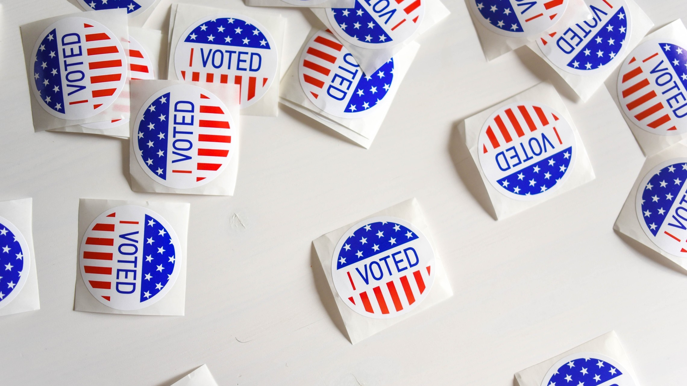 """A pile of """"I Voted"""" stickers"""