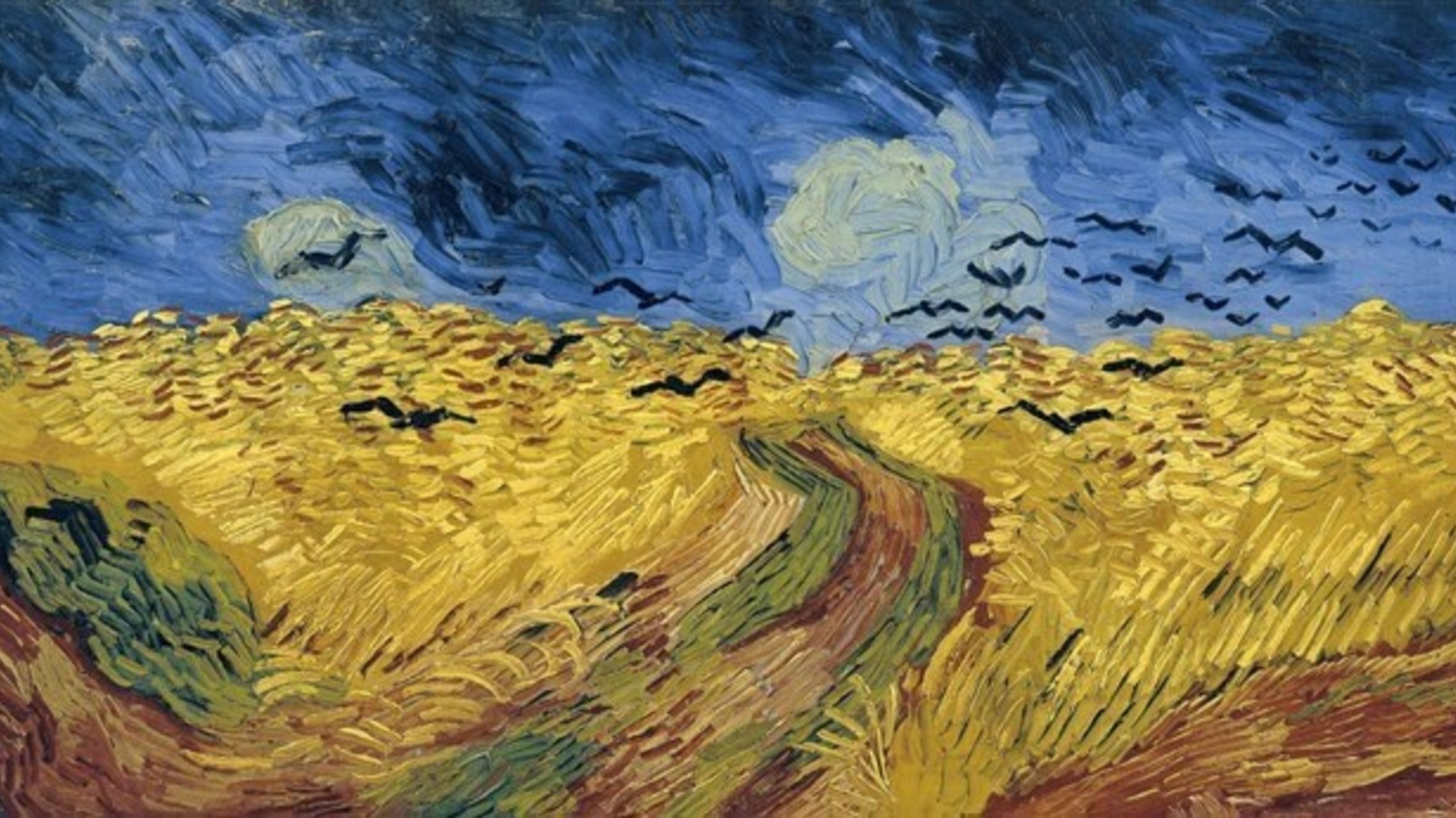 painting of wheat fields, with crows flying over a blue sky