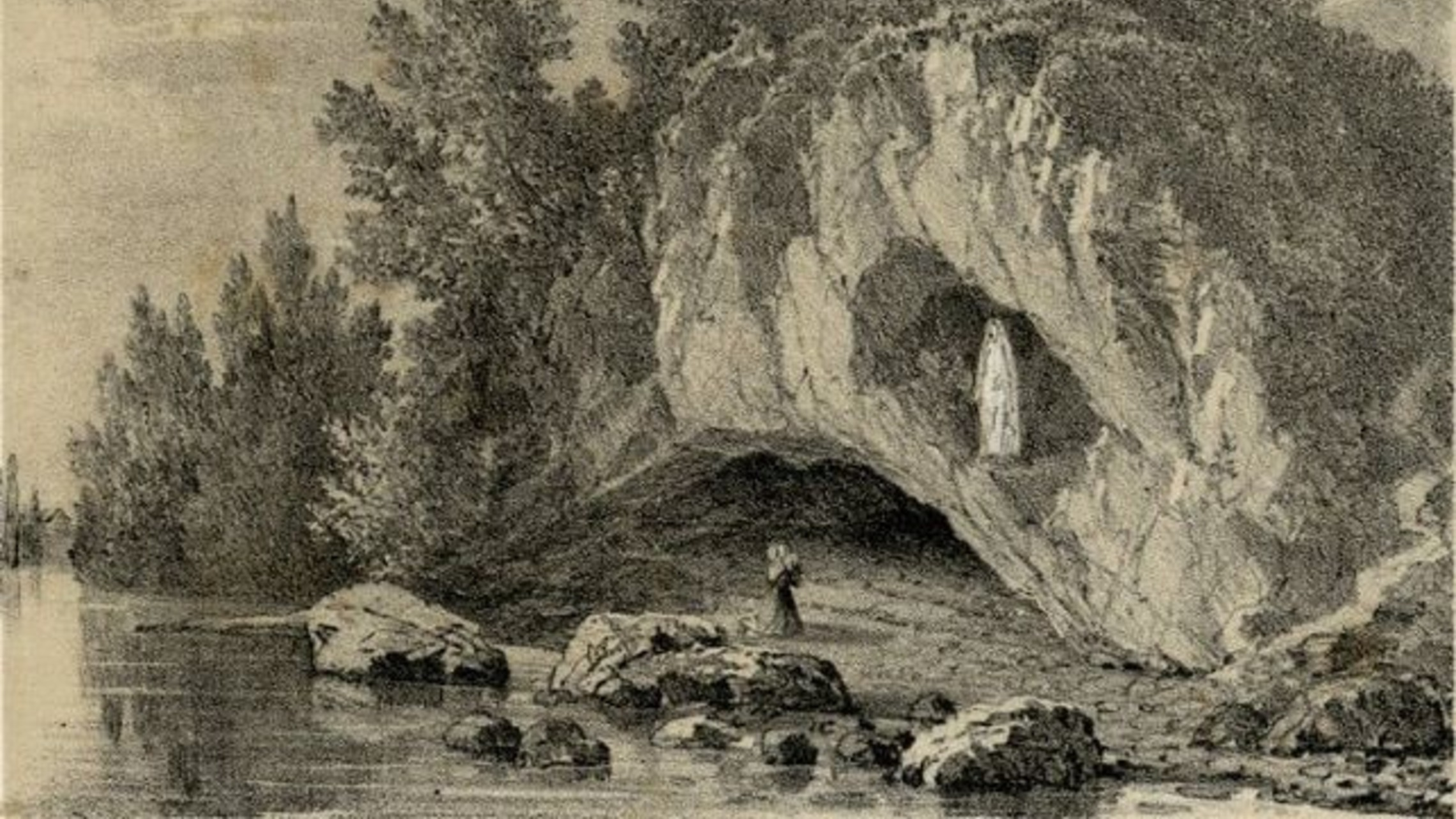 pencil sketch of the Gave River, Massaibelle cliff, and grotto