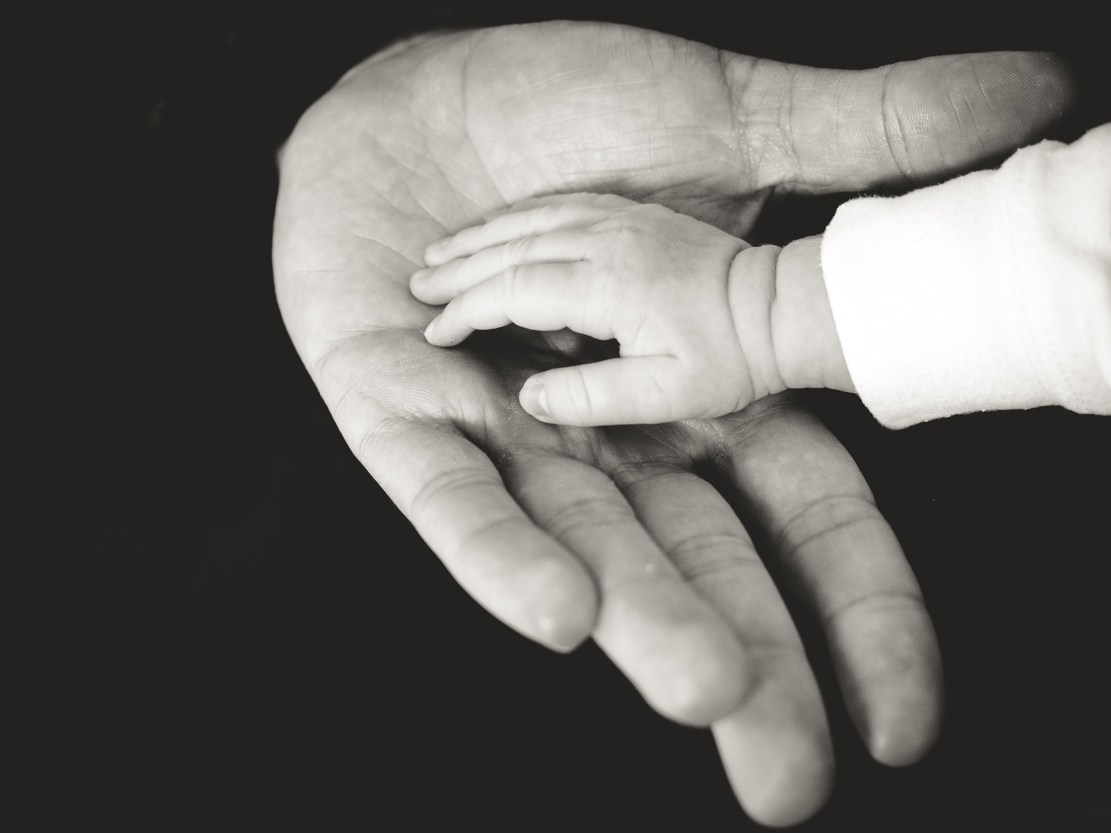 close up on a baby and a man holding hands